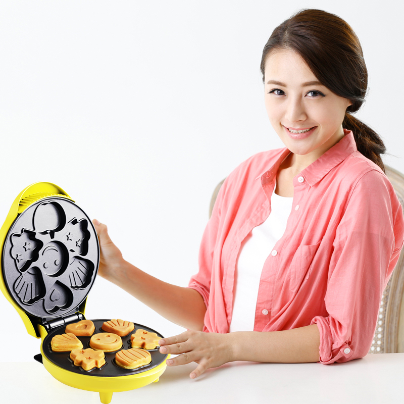 220V Electric Cake Machine Breakfast Maker Non-stick Electric Waffle Cake Machine Cartoon Shape Cake Maker EUUSBS Plug