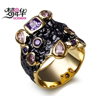 DC1989 Free Shipping 2016 Cubic Zirconia Purple Pink 18K Gold Black Plated Special Party Cocktail Rings