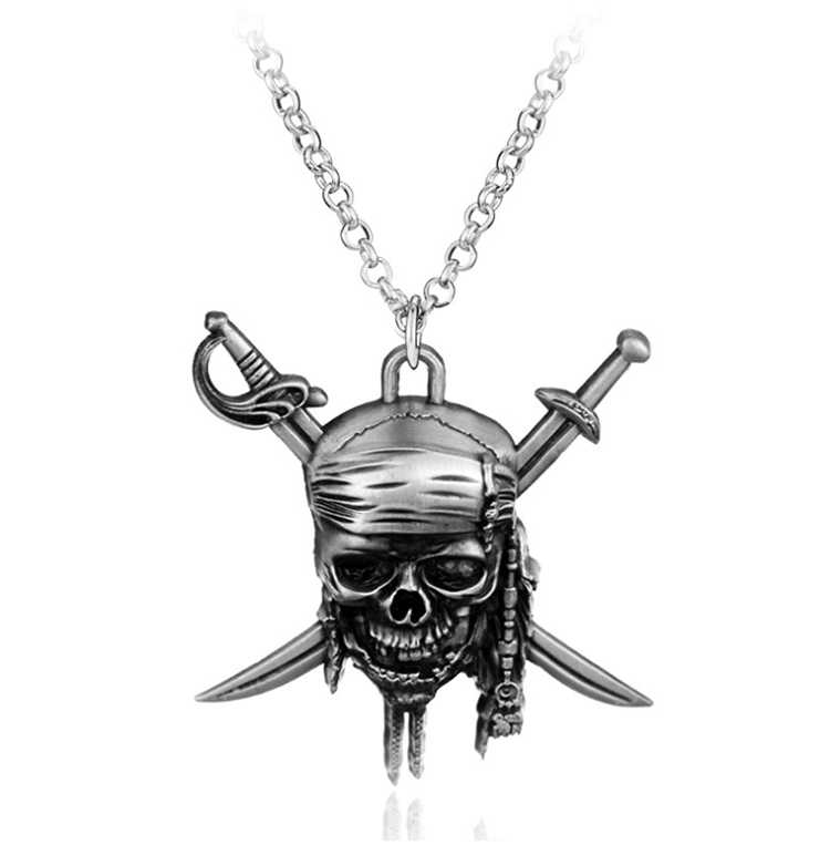 ZRM Fashion Vintage Charm Pirates Of The Caribbean Necklace Jack Sparrow's Skull Pendant Necklace Jewelry Men Women Gifts