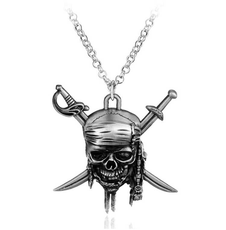 ZRM ファッションヴィンテージチャームカリブ海ジャックスズメの海賊の頭蓋骨のペンダントネックレスジュエリー男性の女性のギフト