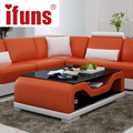 IFUNS modern home living room furniture side coffee table white and black tea table coffe table whit leather cover (fr)