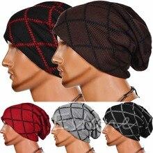 Мода Мужчины Громоздкая Сумка Шапочка Долго Вязать Cap Негабаритных Теплая Зима Мужская Chic Hat