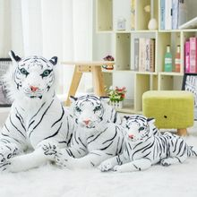 Nooer Free Shipping Emulational Stuffed White Snow Tiger Animals Pillows Plush Toy Colls Children Kid Gift Birthday Gift