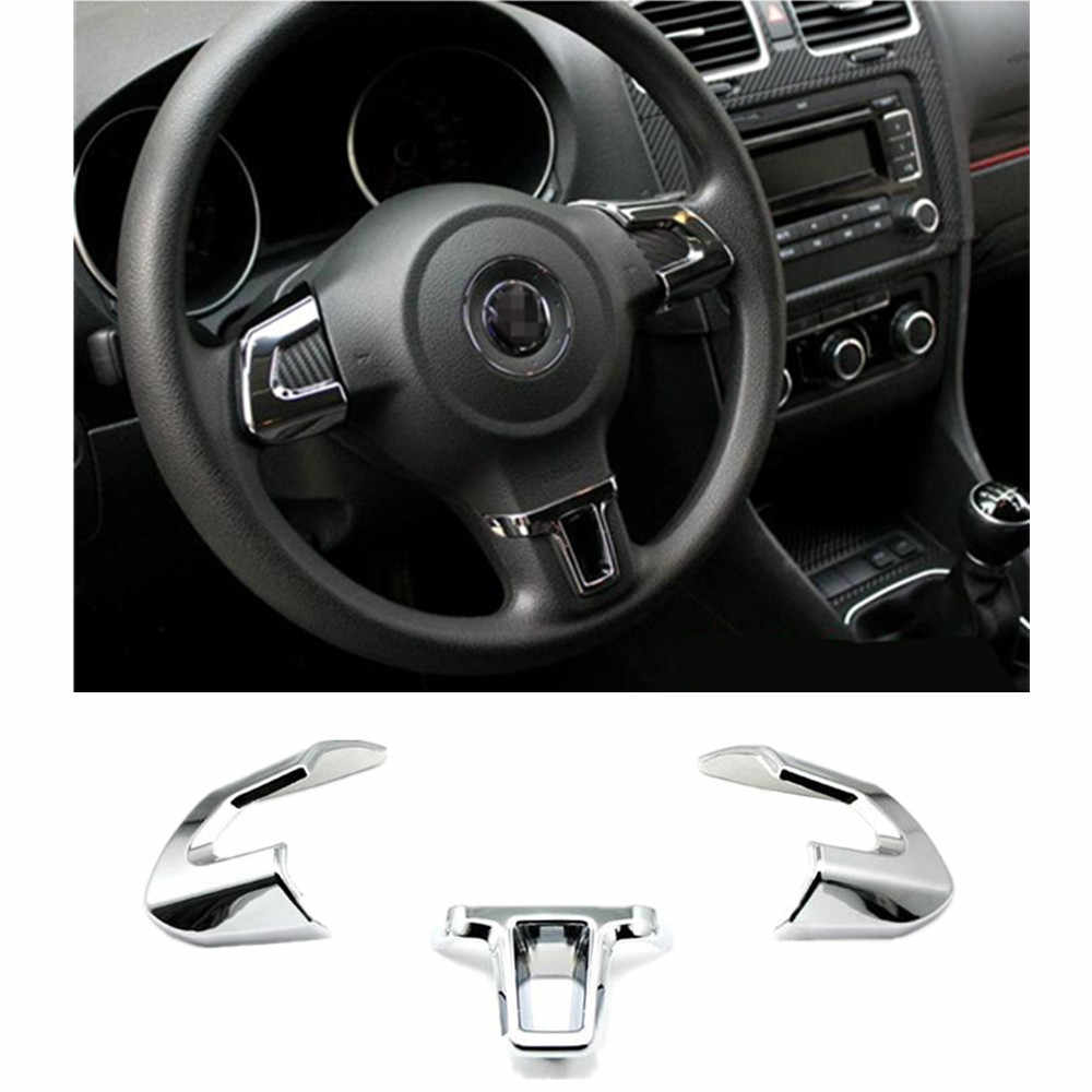 Steering Wheel Cover Sticker ABS Chrome Trim Accessories Case for Volkswagen VW GOLF 6 MK6 POLO JETTA MK5 Bora Car Styling