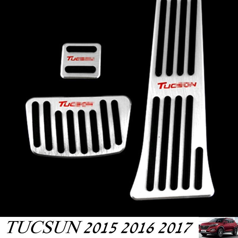 For Tucsun 2015 2016 2017 Car Gas Fuel Brake AT Foot Pedal Cover Set For Hyundai Tucson 2015 -2017 4pcs set smoke sun rain visor vent window deflector shield guard shade for hyundai tucson 2016