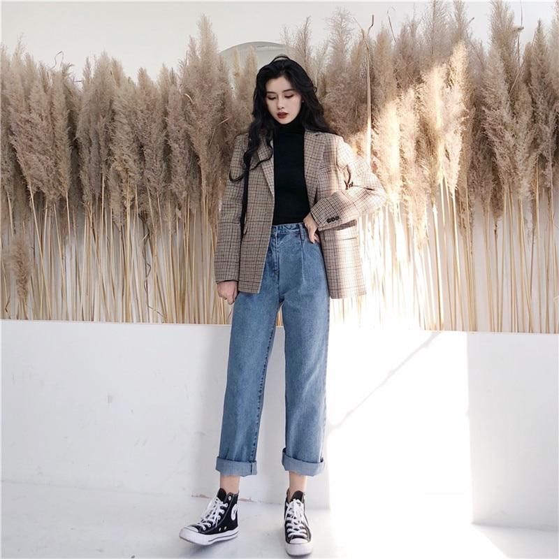 Spring 2019 Korean retro versatile temperament retro loose straight leg jeans high waist trend (6)