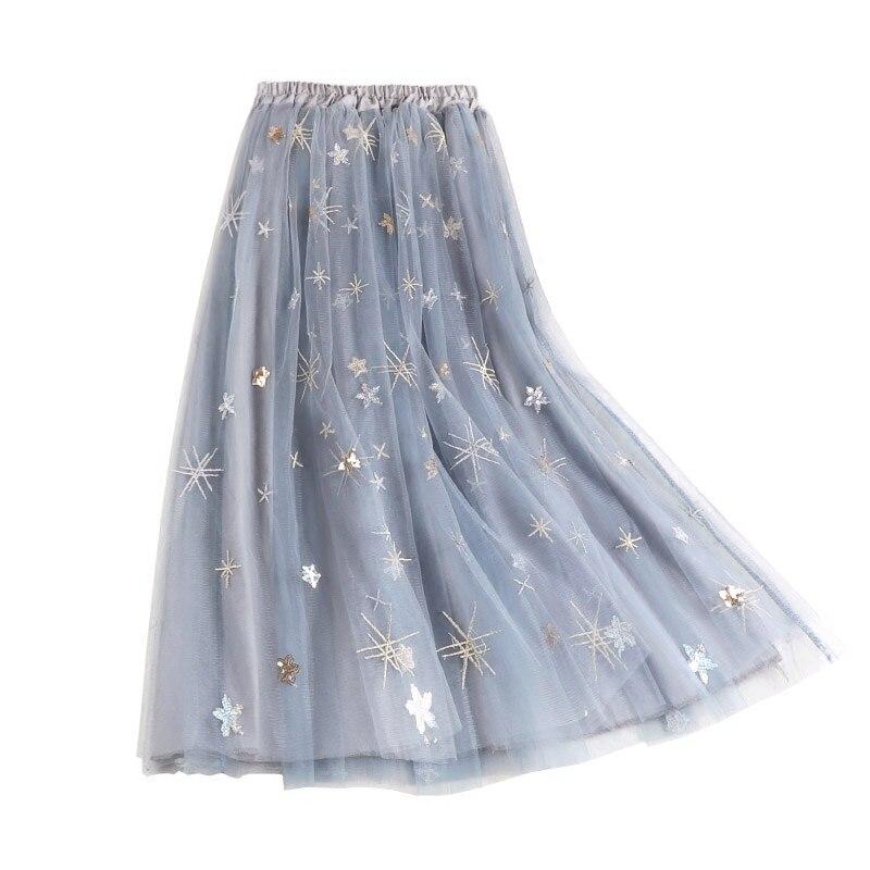 Maxi Long Tulle Skirt Elegant Pleated Tutu Skirts Women Vintage Sequin Embroidery Skirt Lolita Petticoat Faldas Mujer Saias Jupe