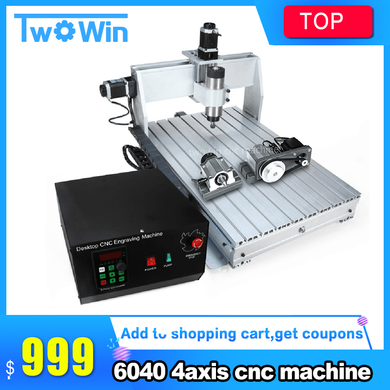 800w /1.5kw /2.2KW CNC 6040 4-axis CNC Router Engraver Engraving Milling Drilling Cutting Machine +Control Box+Inverter