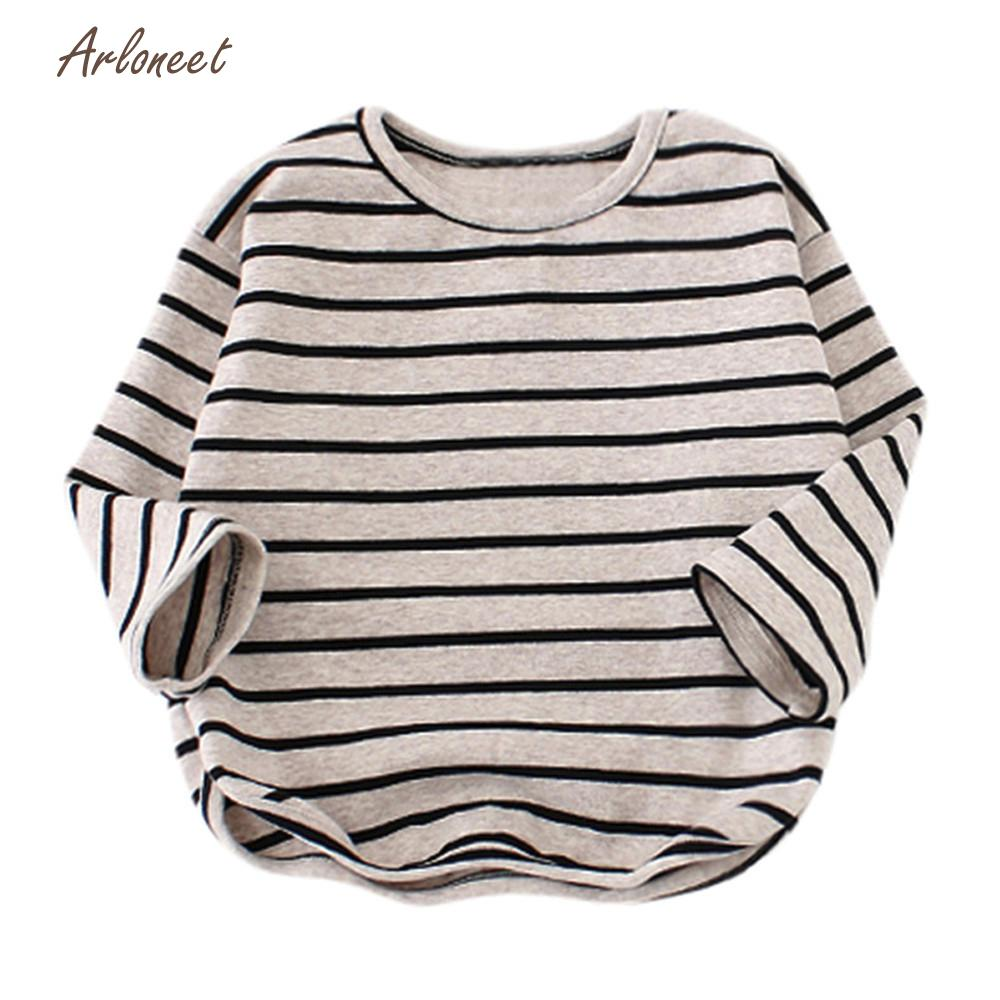 ARLONEET Tees t-shirt Long Sleeve t-shirt for girls Stripe bobo choses 2018 Soft Toddler Kids Tops T-Shirt Warm Clothes DEC19 red stripe pattern loose fit t shirt page 5
