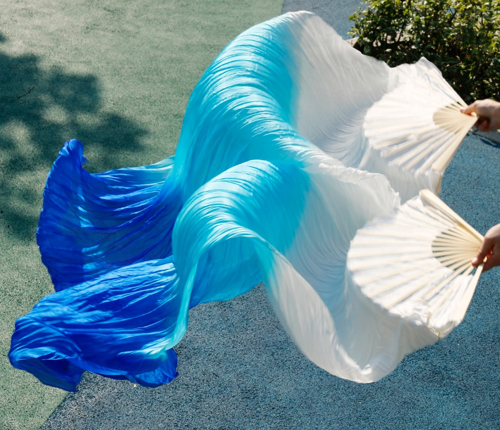 2018 High Quality Silk Belly Dance Fan Dance 100% Real Silk Veils Left+right On Sale White+turquoise+royal Blue Fast Delivery