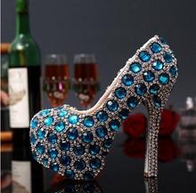 Luxury Designer  Shiny Turquoise Crystal High Heel Platform Women Pumps Round Toe Stiletto Heel Glamorous Wedding Shoes цены онлайн