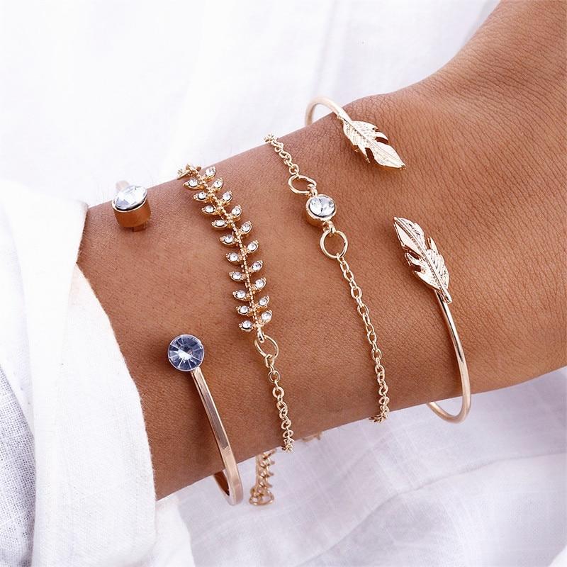 4Pcs/Set Geometric Crystal Charm Bracelets for Women Gold Leaf Bangles Bracelets Set Simple Wrist Chain Lady Boho Bracelet
