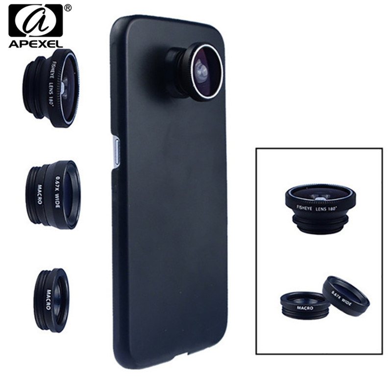 Phone Camera Lens 180 Fish eye Wide Macro Lens With Case Cover For Samsung Galaxy s8 plus s6 edge S5 note 3 in 1 mini Lenses kit image