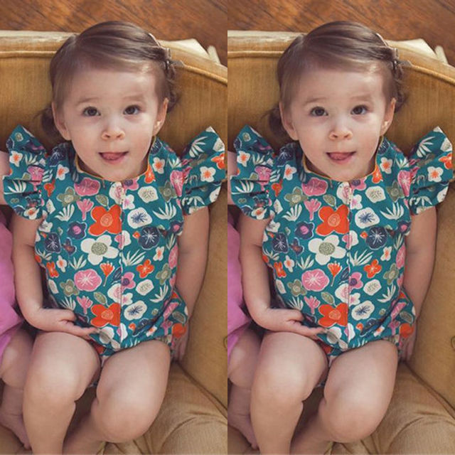 2017 Summer Baby Girl Clothes Fly Sleeves Newborn Kids Big Bow