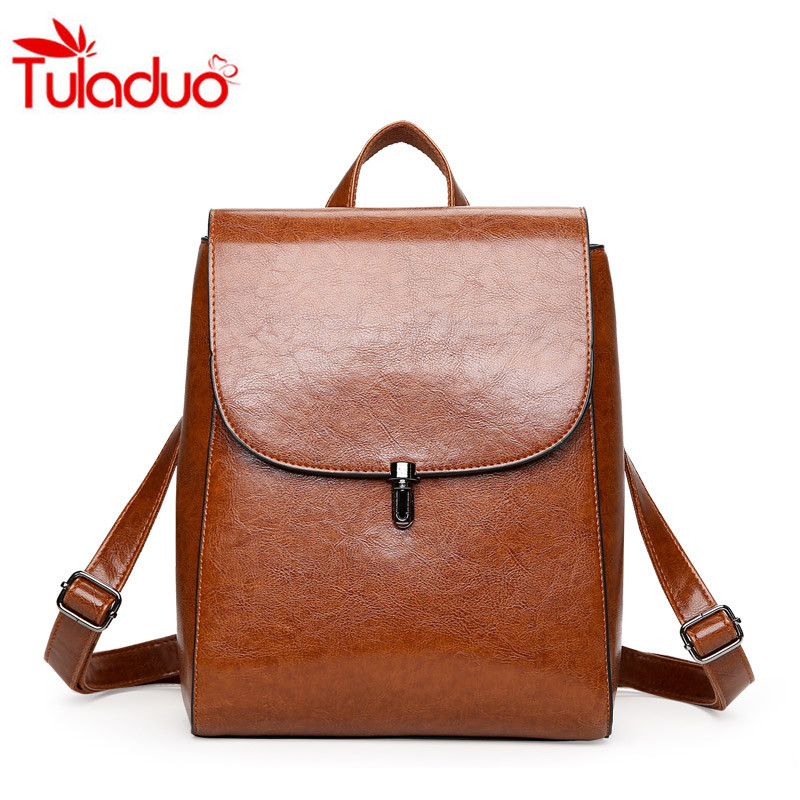 Tuladuo New Women Leather Backpack Women's Backpacks For Girls Casual Bag Female Shoulder Bags Schoolbag Female Rucksack Mochila