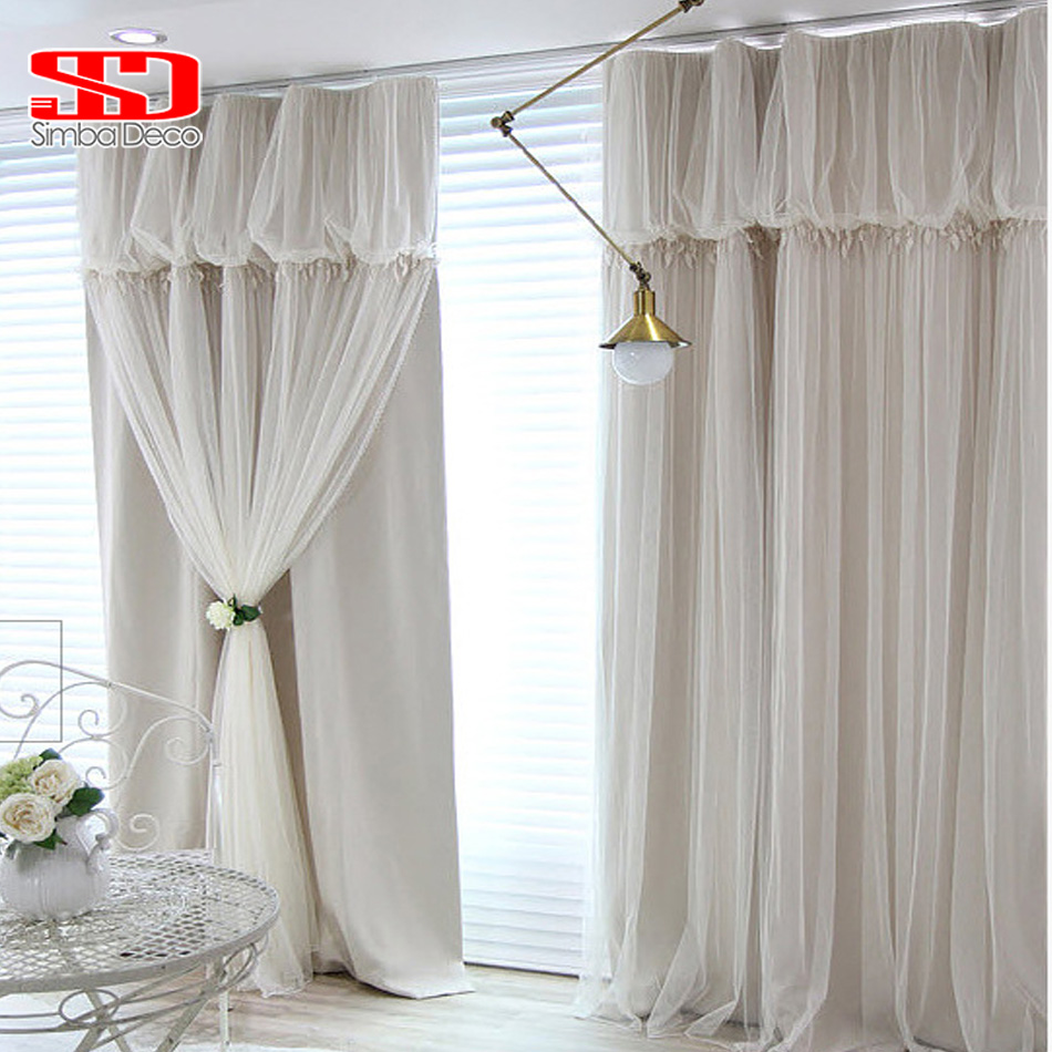 Cafe curtains for bedroom - Solid Lace Tassels Korean Voile Cloth Curtains Set For Living Room Ready Blackout Drapes Window Tulle Shading 90 Bedroom Panel