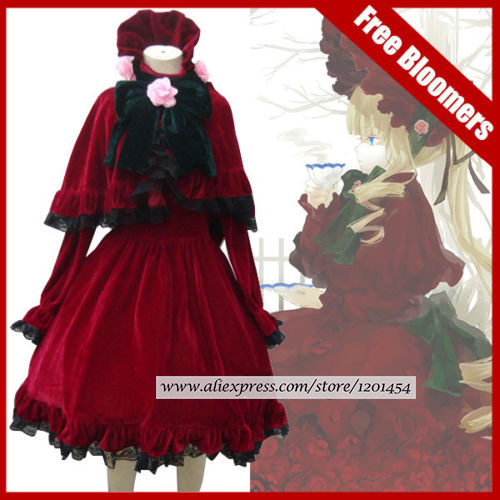 Rozen Maiden Shinku Lolita dress Cosplay Costume Dress pannier short pants Little Red Riding Hood