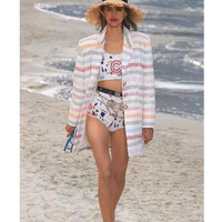 CCCC 2019 Women Striped Jacket Colorful Tweed Jacket Runway High Quality Shell Button Casual Outerwear