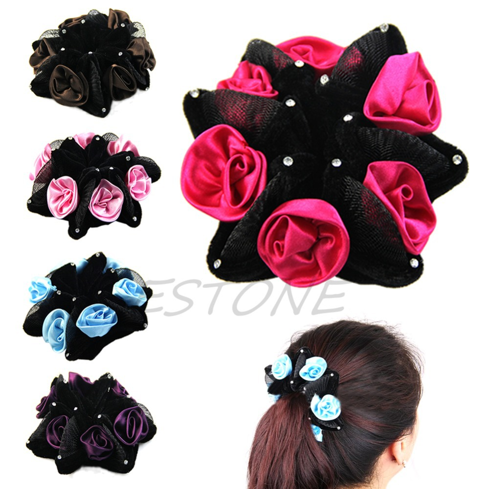 BELLYQUEENNew Rose Flower Bun Garland Floral Head Knot Hair Top Elastic Bridal Scrunchie Band
