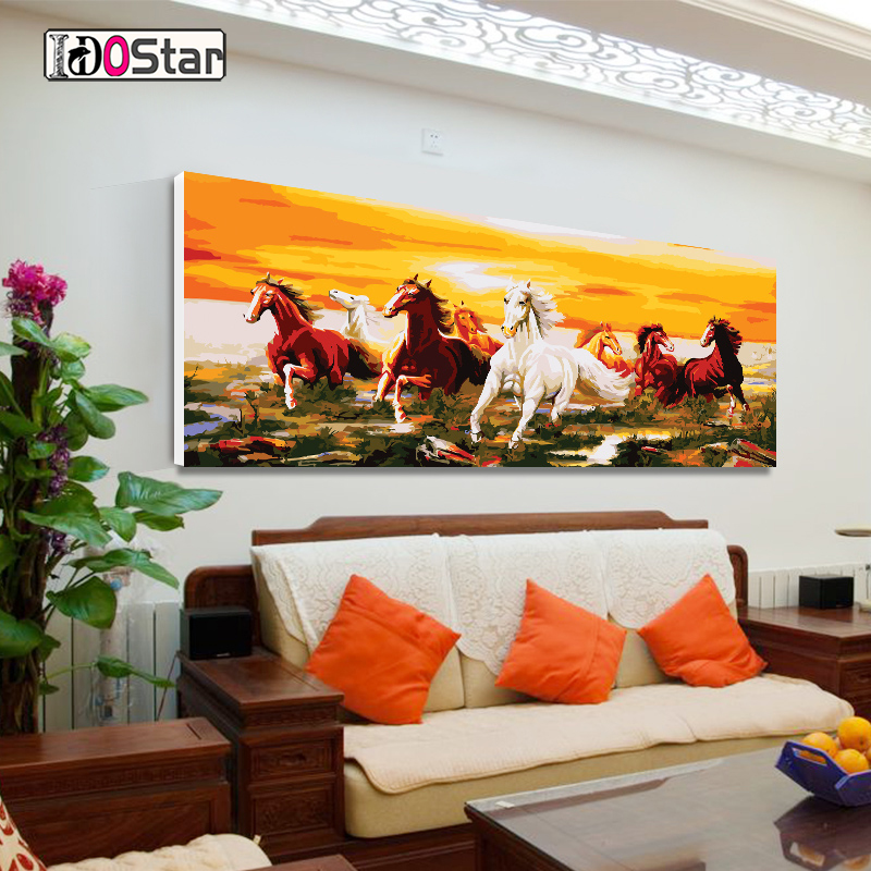 Eight horses picture DIY Painting By Numbers with animals Large Size Acrylic Paint On Canvas Modern Wall Home Decors 60x120CM