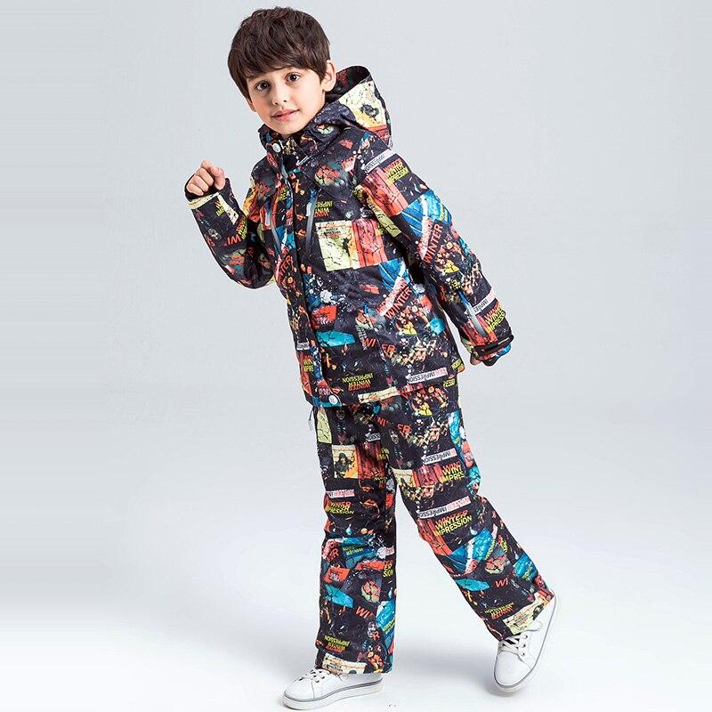 Prix pour 2017 Nouveau Winterimpression Véritable Ski Costumes Enfants Modèles de Garçons En Plein Air de L'enfant Épaississement Imperméable Mianfu Ski Costume
