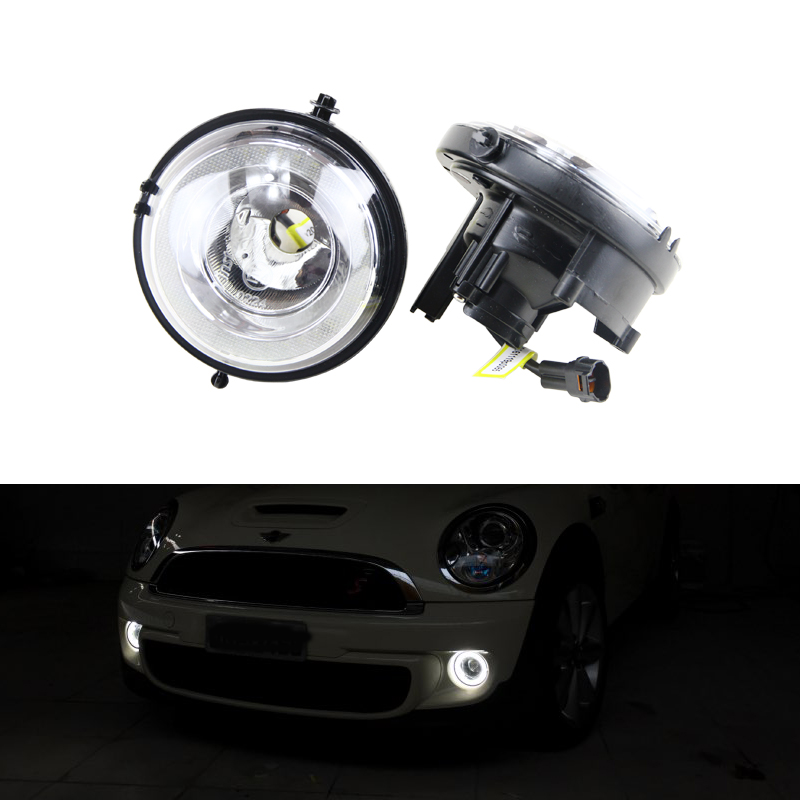 High Power Waterproof Led Daytime Running Light Front Fog Lamp Kit For Bmw Mini Cooper R55 R56 R57 R58 R59 R60 Car Styling White engine aluminum front strut tower bar for bmw mini r55 r56