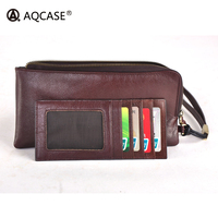 AQCASE Best quality Vast capacity Abundant function Leather zipper Youth mobile wallet for men