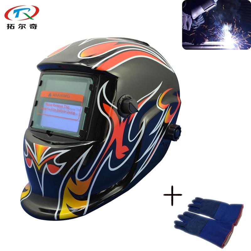 Trq-hd05-2233de Auto Darken Solar Inner Lithium Battery Cr2450 Powered Welding Helmet Fast Shipping With Weld Glove Tools Welding & Soldering Supplies
