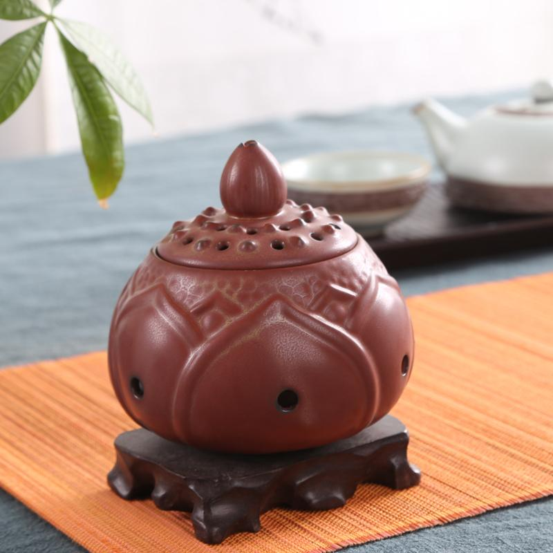Chicken blood red Incense burner restoring ancient ways Carefully selected spice Lotus smoked incense burner Incense coil in Incense Incense Burners from Home Garden