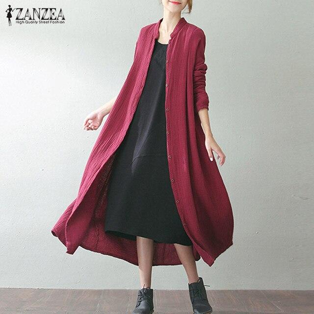 2019 ZANZEA Women Autumn Buttons Down Long Sleeve Cotton Linen Pockets Solid Long Coat Jackets Baggy Party Vestido Plus Size