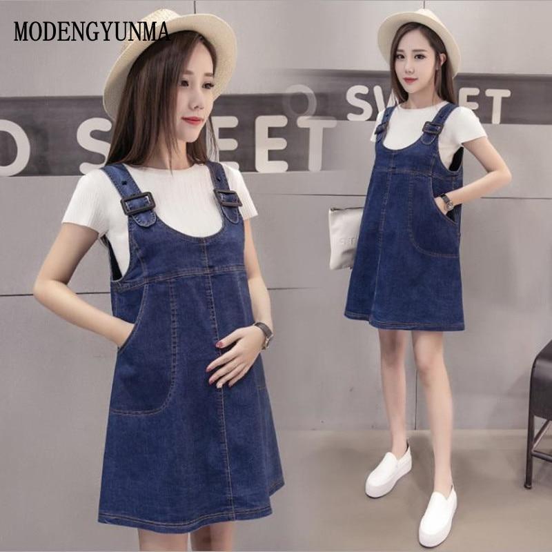 MODENGYUNMA Maternity Denim dress+ T shirt two set Pregnancy clothes dresses Pregnant Clothes for pregnant women