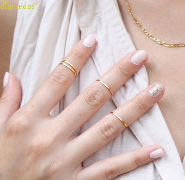 Diomedes Newest 5PCS/Set Rings Urban Gold Stack Plain Cute Above Knuckle Ring Ba