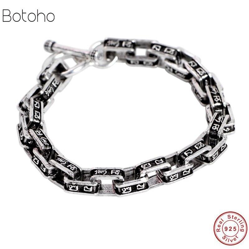 Bandes de métier à tisser 100% réel 925 argent Sterling mâle Simple hommes amitié bracelet à breloques bracelet fait à la main bijoux en argent de thaïlande 2019