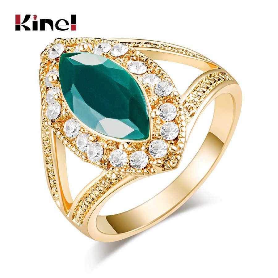 Kinel แฟชั่นแหวนทองสำหรับสตรี 2018 ใหม่ตุรกีเครื่องประดับคริสตัลสีขาว Rhombus สีเขียวเรซิ่นหมั้นแหวน PARTY อุปกรณ์เสริม