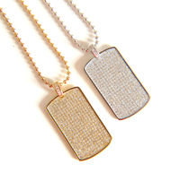 2017 NEW Fashion HIP HOP JEWELRY Men S Iced Out Dog Tag Pendant With White Gold