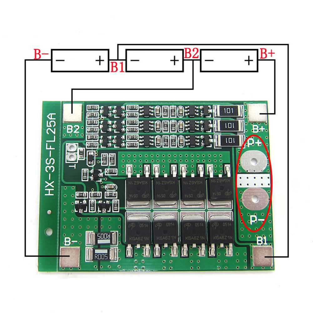 3S <font><b>12V</b></font> 25A Li-ion 18650 <font><b>BMS</b></font> PCM Battery Protection Board <font><b>BMS</b></font> PCM With Balance For Li-ion Lipo Battery Cell Pack Module image
