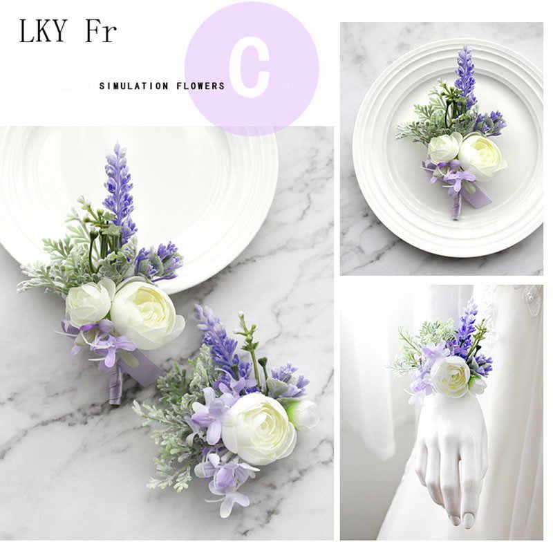 LKY Fr ウェディング手首のコサージュのブレスレット新婦フラワー新郎ブートニエールボタンホール紫結婚式のコサージュの花アクセサリー