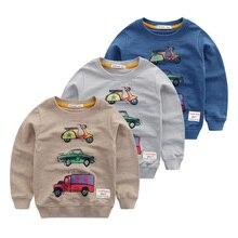 Boys round collar fleece cartoon car fall 2016 new baby render long-sleeved T-shirt unlined upper garment of children