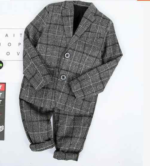 Giải trí 2 pcs Chàng Trai Quý Ông Chính Thức Phù Hợp Với Sọc Thời Trang Blazer + Quần Trẻ Em Phù Hợp Với Đám Cưới Trẻ Em Quần Áo Đảng