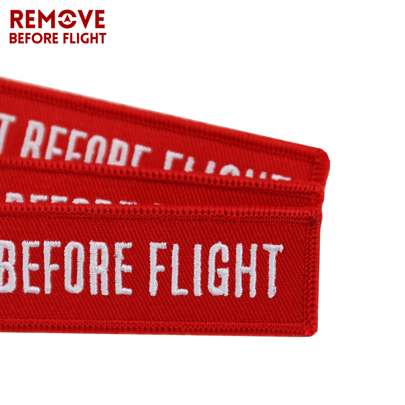 Fashion INSERT BEFORE FLIGHT Key Chain Tag Jewelry Keychain for Motorcycles Cars OEM Key Chains Red Embroidery Key Fobs Keyring in Key Rings from Automobiles Motorcycles