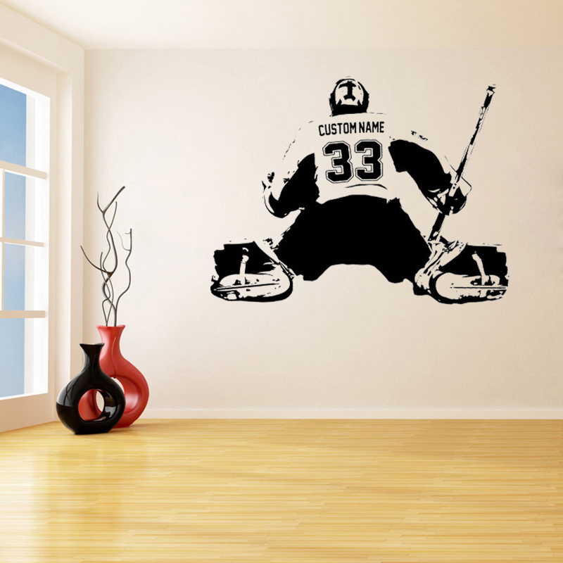 Hockey Wall Decal Large Decal Custom Name Decal Boys: Hockey Goalie Custom Large Player Choose Jersey Name And