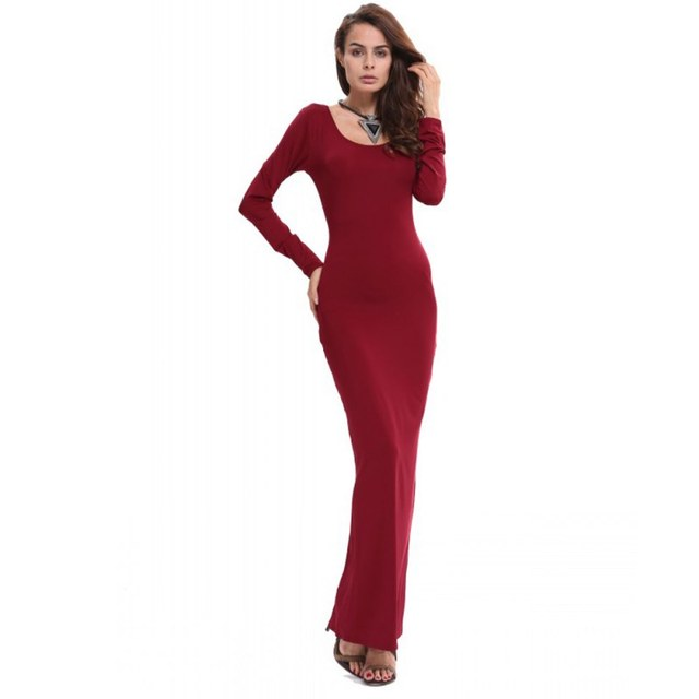 866b0c3146f Femmes Sexy Stretch solide moulante robe O cou Slim longue robe à manches  longues Maxi robe