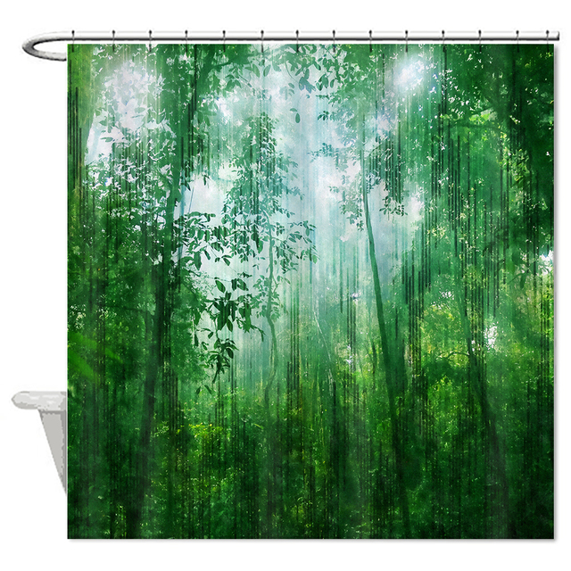 Nature Scenic Green Forest Shower Curtain Polyester Cotton ...