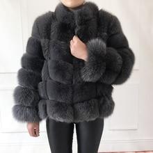 Пальто из настоящего меха, женская теплая и стильная куртка из натурального Лисьего меха, жилет с воротником-стойкой и длинным рукавом, кожаное пальто, пальто из натурального меха