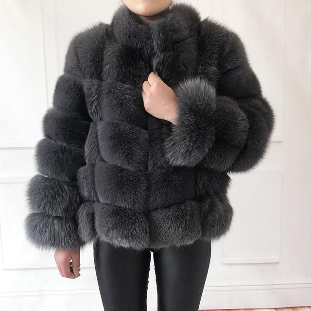 100% true fur coat Women's warm and stylish natural fox fur jacket vest Stand collar long sleeve leather coat Natural fur coats 1