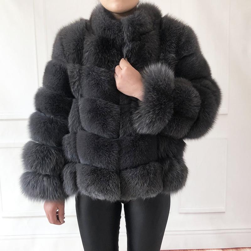 100% true fur coat Women's warm and stylish natural fox fur jacket vest Stand collar long sleeve leather coat Natural fur coats Real Fur  - AliExpress