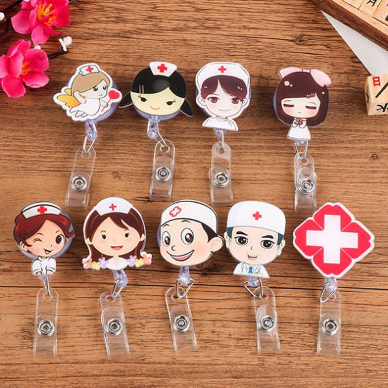 Cute Retractable Badge Reel Student Nurse Exhibition ID Name Card Badge Holder Office Stationery Supplies new exhibition cards id badge holder name tag staff business card cover badge holders school office stationery supplies