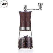YRP נייד ידני HandCrank ספייס/פלפל/אגוזים/קפה שעועית מטחנות עם נירוסטה ABS זכוכית רחיץ בר קפה Milller