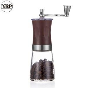 Image 1 - Yrp portátil manual manivela spice/pimenta/porcas/moedor de feijão café com aço inoxidável abs vidro lavável burr café milller