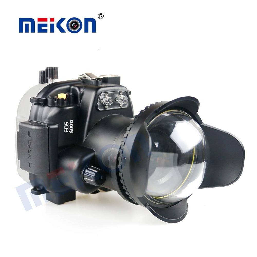 Funda impermeable para cámara subacuática para Canon EOS 600D + bandeja de dos manos + Puerto Domo 67mm ojo de pez